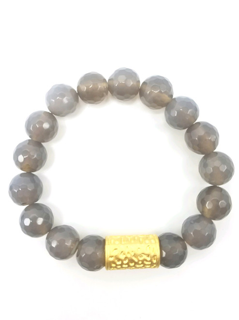Gray Moonstone and Gold Stretch Bracelet