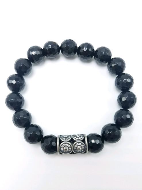 Onyx and Silver CZ Stretch Bracelet