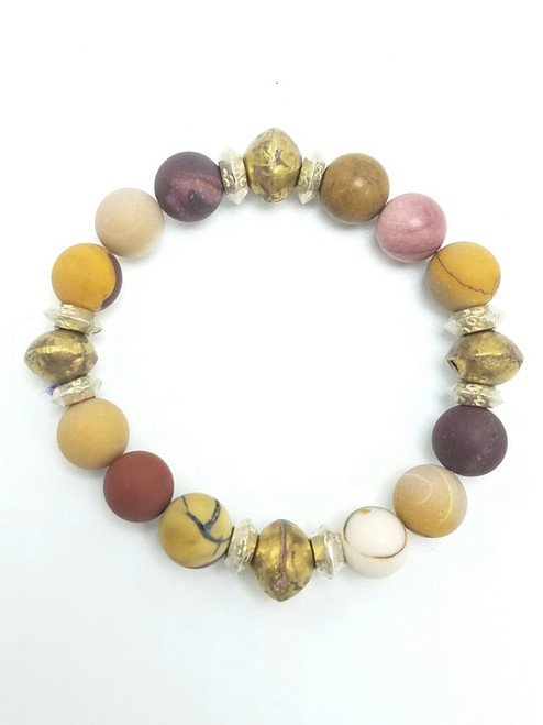 Mooakite and African Prayer Beads and African Wedding Rings on Stretch Bracelet