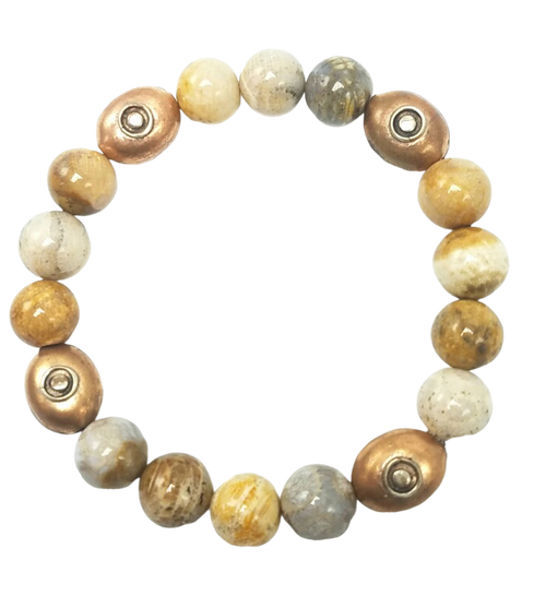 Fossil Coral with Copper Tibetan Beads Stretch Bracelet