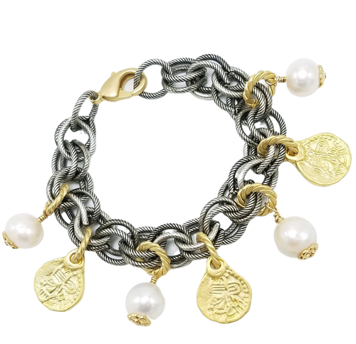 Gunmetal Charm Bracelet with Matte Gold Coins and White Freshwater Pearls