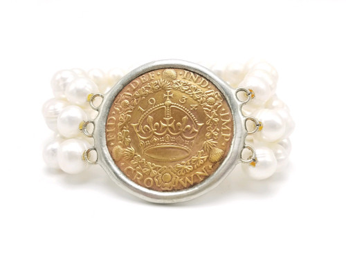Triple Strand White Freshwater Pearls and English Coin Stretch Bracelet