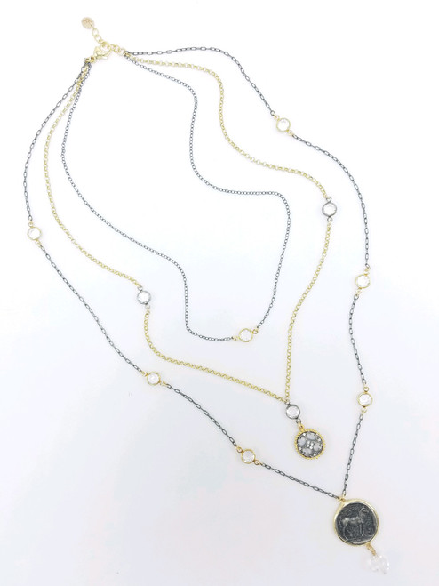 Triple Strand Gunmetal and Gold with CZ Disc and Roman Coin