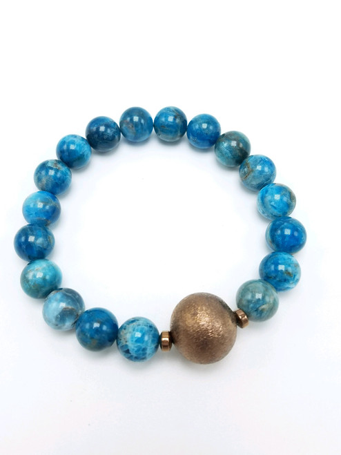 Apatite and Bronze Bead Stretch Bracelet