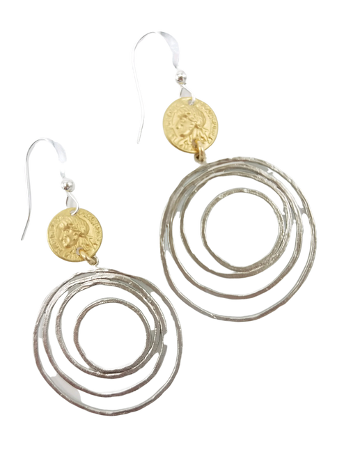 Matte Silver Spiral Circles with Gold Coin Earrings