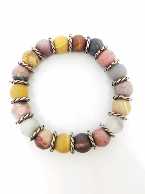 Rhodonite, Zebra, Coral and Gray Chalcedony with Antique Silver Stretch Bracelet