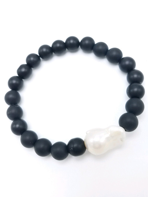 Matte Black Onyx Beads with White Baroque Pearl Stretch Bracelet