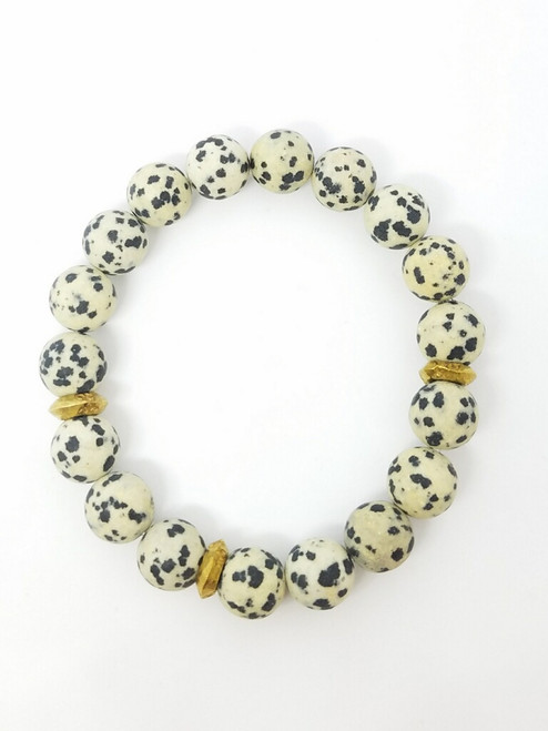 Matte Dalmation Jasper with African Wedding Rings Stretch Bracelet