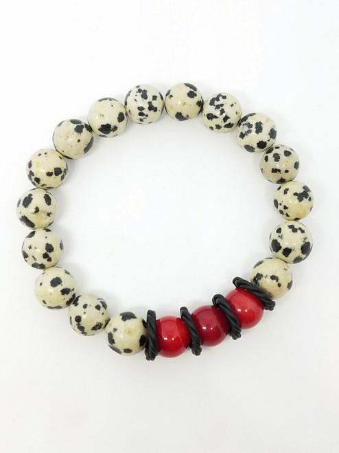 Matte Dalmation, Red Coral and Matte Black Stretch Bracelet