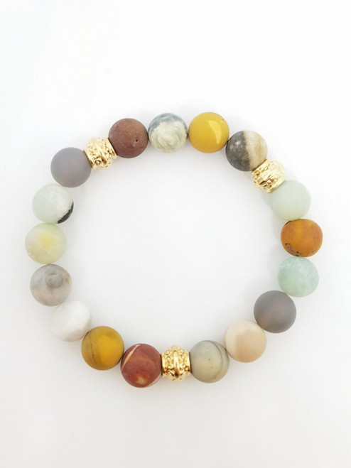 Mookaite and Other Gemstones Stretch Bracelet