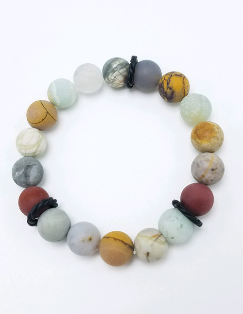 Mookaite and Other Gemstones Stretch Bracelet II