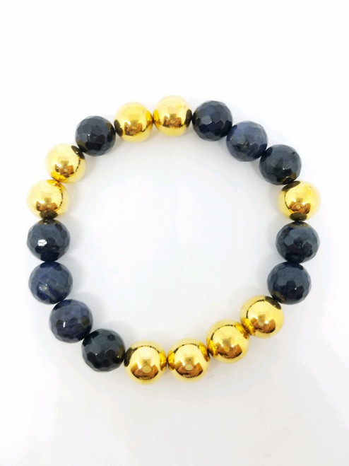 1970's Chanel Beads with Demoterite Stretch Bracelet