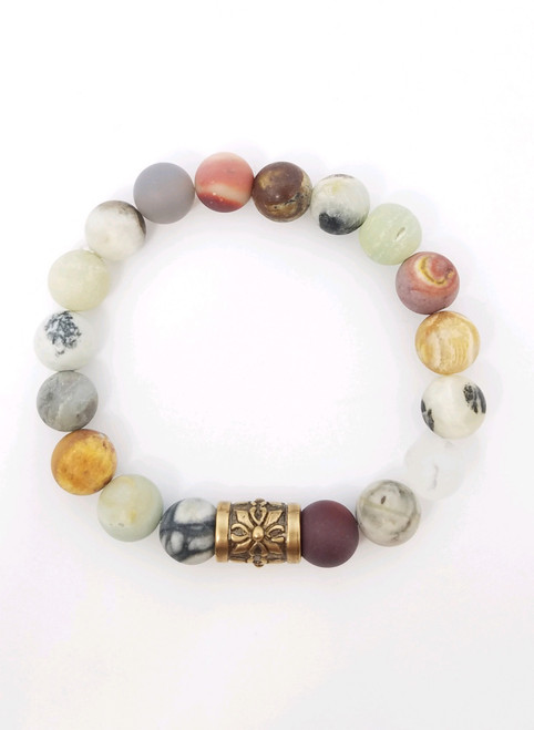 Mookaite and Other Gemstones with Copper Bar Stretch Bracelet