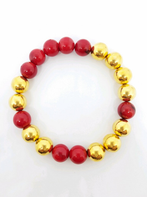 1970's Chanel Beads with Coral Bracelet
