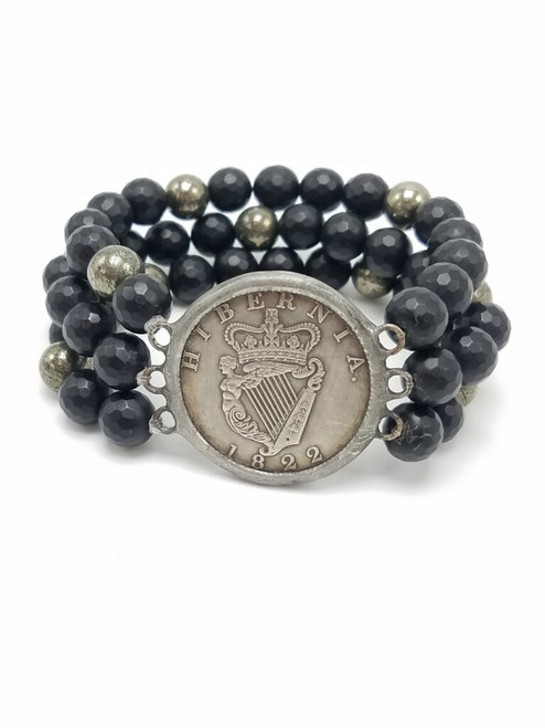 Onyx and Pyrite and Silver French Coin Bracelet