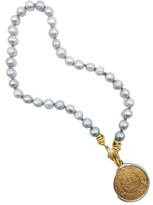 Grey Freshwater Pearl and English Coin Necklace