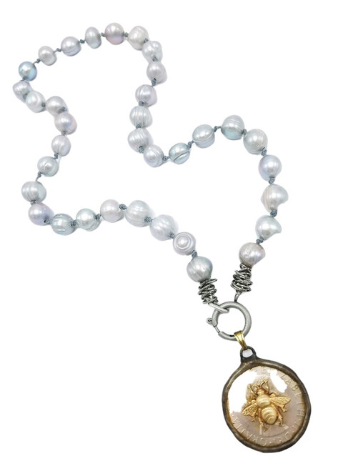 Knotted Pearls with Gold Bee on Coin