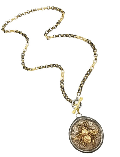 Gold and Brass Chain Necklace with Bee Coin