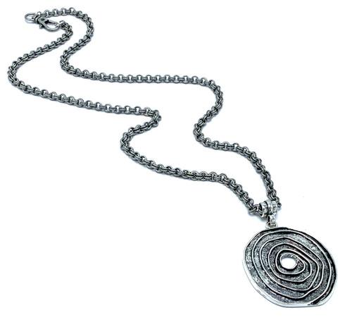 Silver Chain with Silver Swirl Pendant