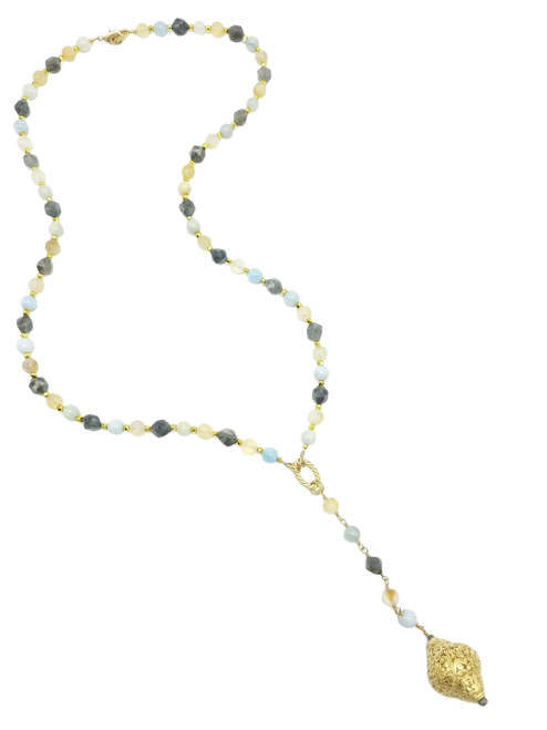 Aquamarine, Citrine, and Labradorite  Necklace with Tibetan Pendant