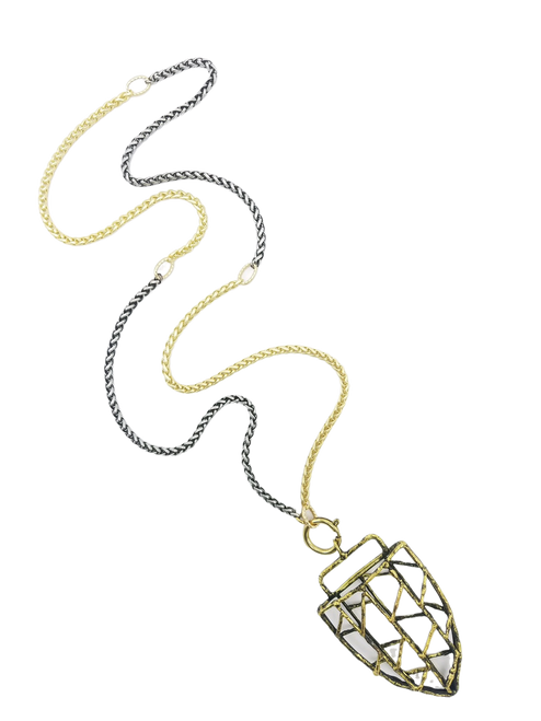 Gold and Silver Chain with Tibetan Pendant