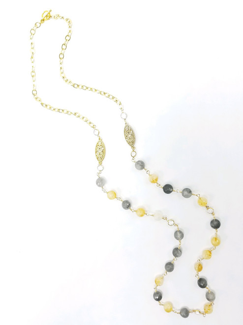Citrine, Cloudy Quartz  with Crystals Long Necklace