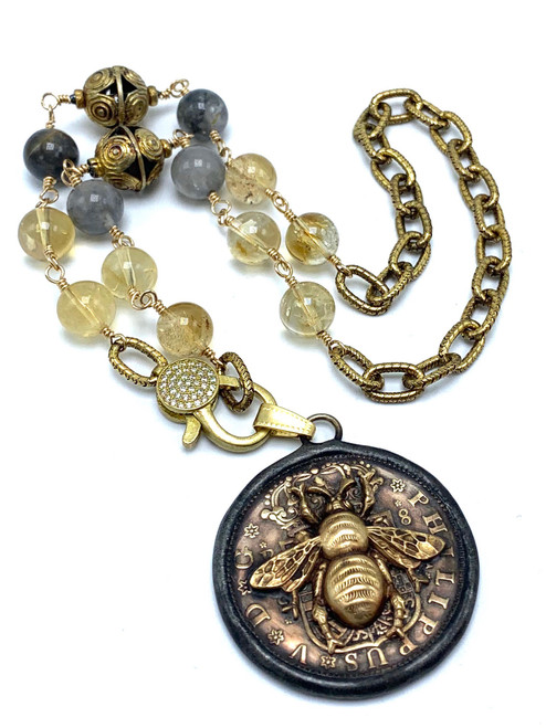 Hand wired Cloudy Quartz, and Citrine Necklace with CZ Clasp and Bee Coin