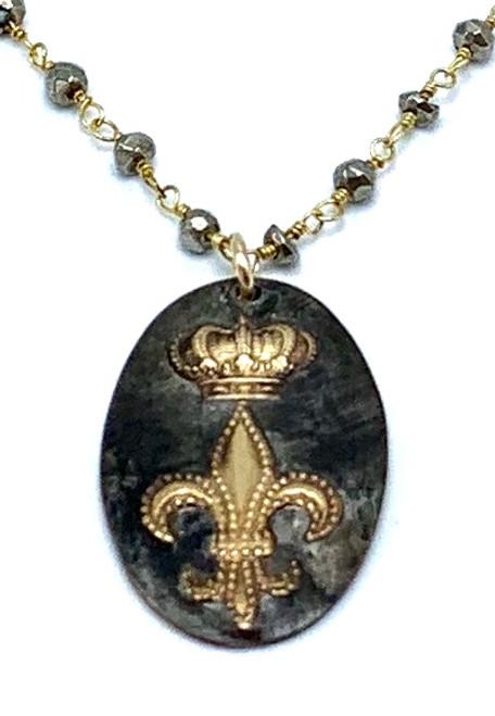Pyrite Chain Necklace with Fleur De Lis Pendant