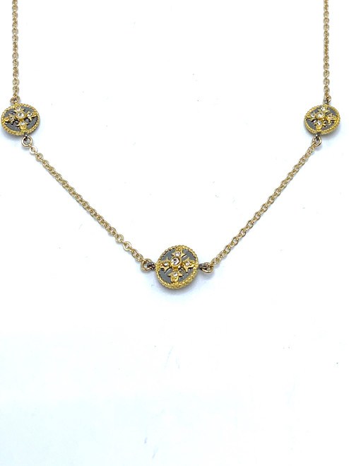 Short Gold Filled Necklace with CZ Rounds