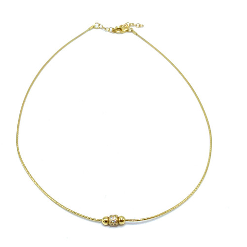 Short Vermeil Choker with CZ Centerpiece