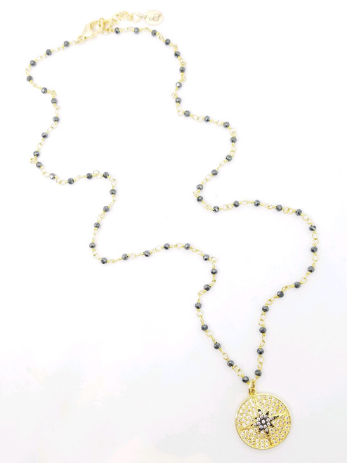 Short Pyrite Necklace with Gold and Black Star CZ Pendant