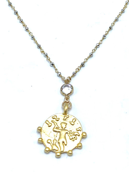 Short Pyrite Chain Necklace with Gold Encased Crystal and Coin
