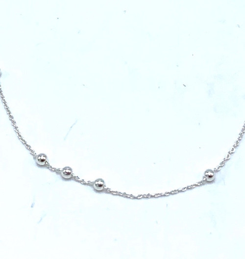 Short Sterling Silver Necklace with Silver Balls