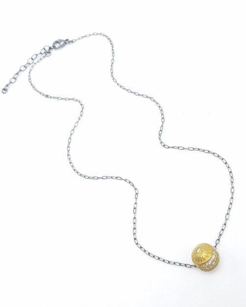 Short Gunmetal Chain with Brass and CZ Ornate Ball