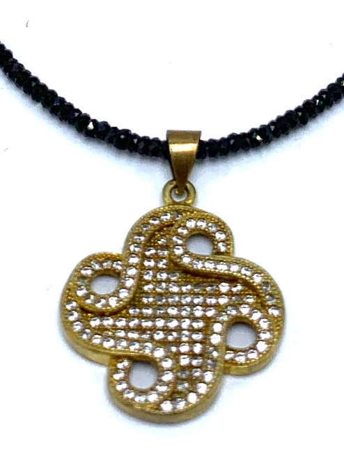Short Black Spinel Necklace with Brass and CZ  Swirl Pendant