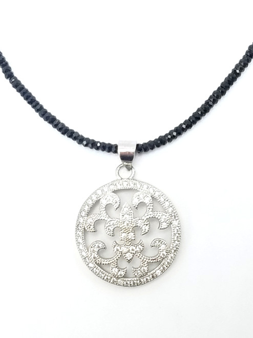 Short Black Spinel and Silver CZ Round Pendant Necklace