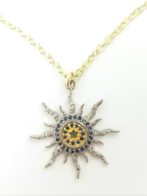 Short Gold Filled Chain with Diamond and Blue Topaz Sun Pendant Necklace