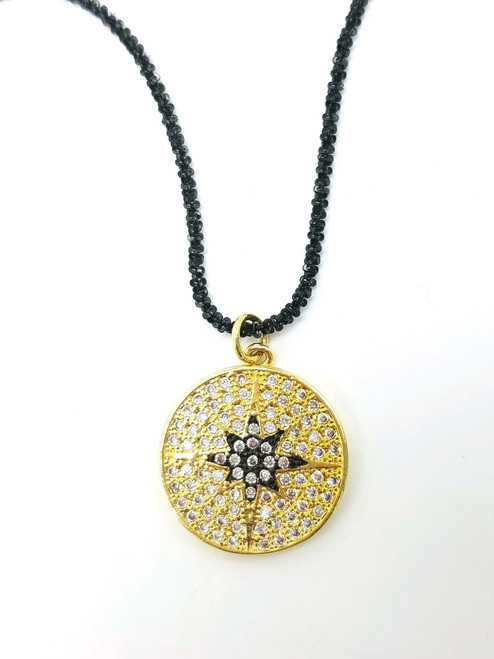 Long Black Faceted Chain with Gold CZ Pendant