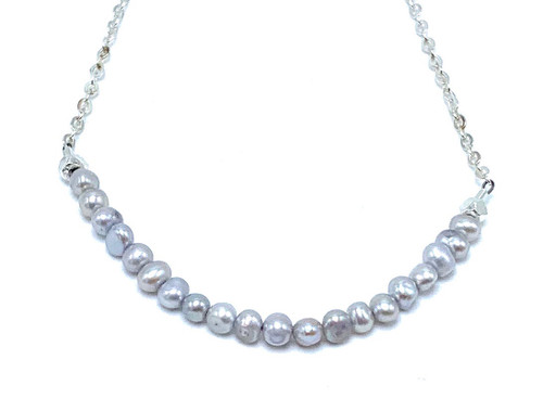 Short Sterling Silver Necklace with Grey Freshwater Pearls