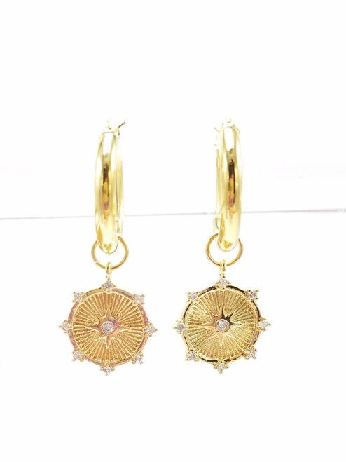 Gold and CZ Starburst Charms