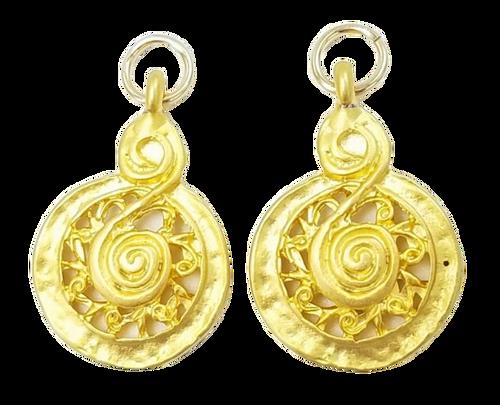 Matte Gold Swirl Charms