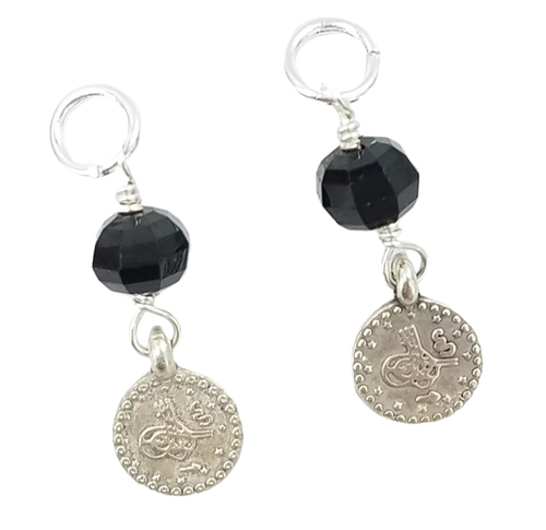 Black Spinel and Silver Coin Charms