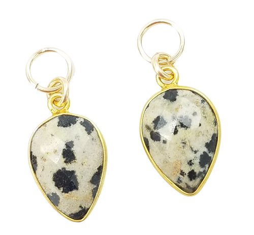 Gold Encased Dalmatian Quartz Charms
