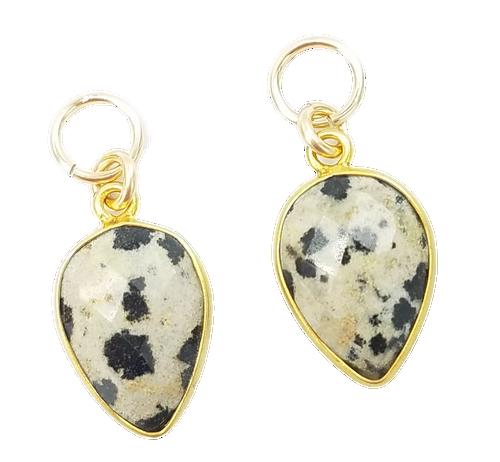 Gold Encased Dalmatian Quartz Charms