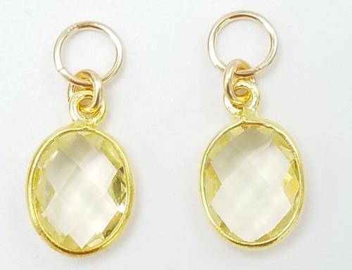 Gold Encased Yellow Quartz Charms