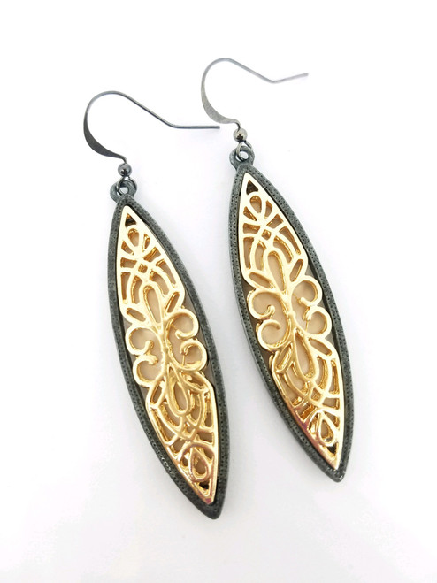 Long Gold and Gunmetal Earrings