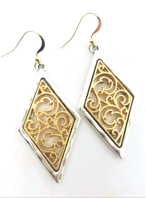 Ornate Gold and Silver Diamond Shaped Earrings