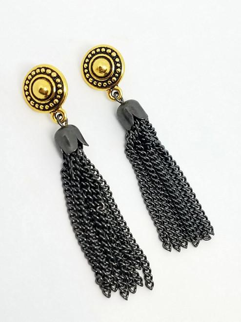 Gunmetal Tassel on Gold Post Earrings