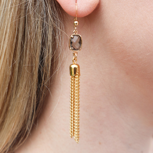 Gold Tassel and Smokey Quartz Earrings