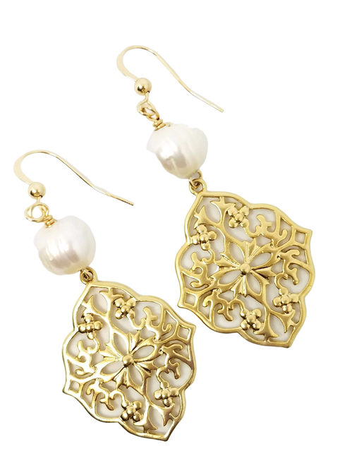 Gold Filigree and Freshwater White Pearl Earrings